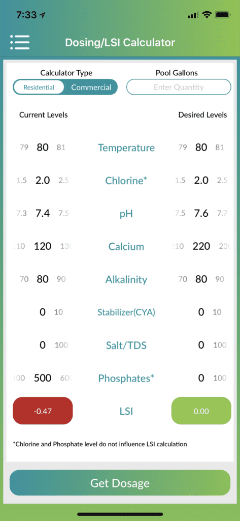 """Here you can see the LSI Index in real life. The left column shows the """"Actual Results"""" of a water test we recently completed in our store. The right column tells us """"Potential Results"""" should we take steps to balance our pool water. This app makes things pretty simplistic. As you can see, by adjusting our PH by +.2 we bring our water back to a balanced state. Hence, we moved our water from a Corrosive environment to a Balanced environment."""